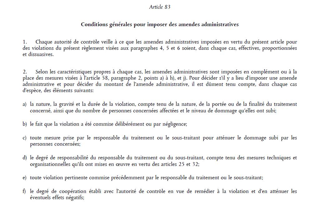 conformité RGPD : extrait de l'article 83 du RGPD relatif aux amendes - charger le PDF pour disposer de l'article en entier.